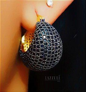 Brinco Argola Abaulada Luxury Toda em Micro Zircônia Negra Banhado em Ouro18k (SKU:00031820)