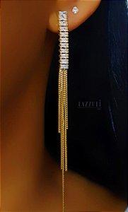 Brinco Franja com Zircônia Baguettes Cristais Banhado em Ouro18k
