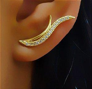 Brinco Ear Cuff com 1 Fileira Lisa e 1 com Micro Zircônia Cristal Banhado em Ouro18k