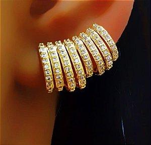 Brinco Ear Cuff 8 Fileiras Micro Zircônias Banhado em Ouro18k (SKU: 00031938)