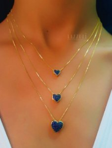 Colar Trio Corações com Zircônia Azul Safira Banhado em Ouro18k