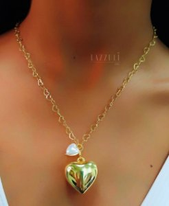Colar Elos Corações com Pingente Coração Liso e Pérola Banhado em Ouro18k