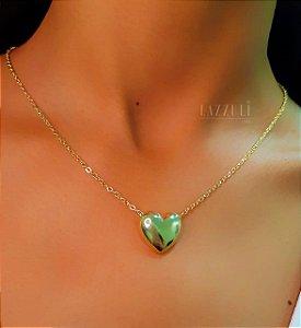 Colar Elo C com Coração Liso Banhado em Ouro18k (SKU: 00052069)