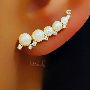 Brinco Ear Cuff com Pérolas e Micro Zircônias Banhado em Ouro18k