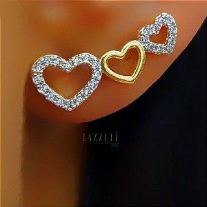 Brinco Ear Cuff 3 Corações Micro Zircônias Banhado em Ouro18k (SKU: 00031957)