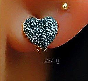 Brinco Mini Argola PP Coração Pontilhada Negro Banhado em Ouro18k