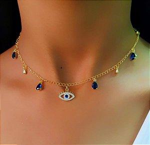 Choker Olho Grego com Gota Zircônia Azul Banhado em Ouro18k