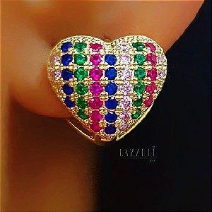Brinco Argola Coração Colorido Banhado em Ouro18k