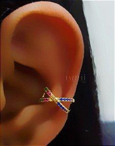 Piercing Fake X com Zircônia Colorida Banhado em Ouro18k