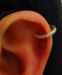 Piercing Fake com 1 Fileira de Micro Zircônias Banhado em Ouro18k