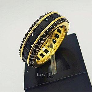 Anel Aparador Luxury com Micro Zircônias e Zircônias Baguettes Negras Banhado em Ouro18k