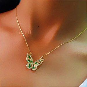 Colar Borboleta Luxury Zircônias Cristal e Baguettes Esmeralda Banhado em Ouro18k (SKU:00052112)