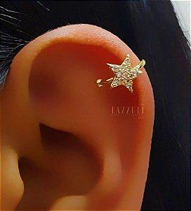 Piercing Fake Estrela com Micro Zircônias Cristais Banhado em Ouro18k