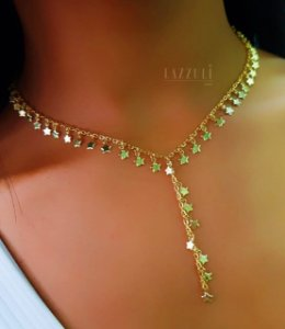Colar Gravatinha Estrelas Luxury Banhado em Ouro18k