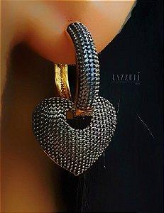 Brinco Argola Pingente Coração Pontilhada Banhado em Ouro18k