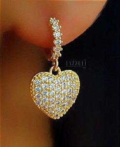 Brinco Mini Argola Coração Banhado em Ouro18k (SKU: 00039608)
