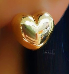 Brinco Coração Abaulado Liso Banhado em Ouro18k