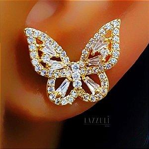 Brinco Borboleta Zircônia Cristal Banhado em Ouro18k (SKU: 00032003)