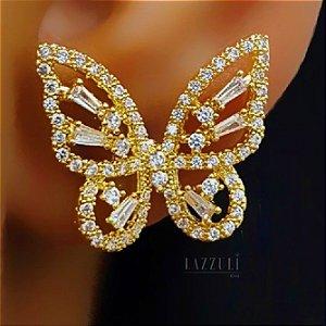 Brinco Borboleta Zircônia Cristal Banhado em Ouro18k (00032001)