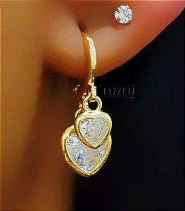 Brinco Mini Argola com 2 Corações Zircônia Cristal Banhado em Ouro18k