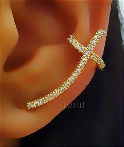 Piercing Fake Cruz com Micro Zircônias Cristais Banhado em Ouro18k