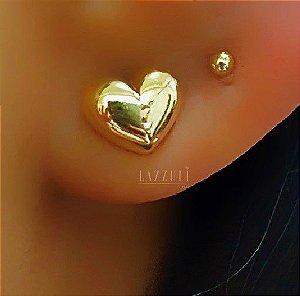 Brinco Mini Coração 0.8 cm Banhado em Ouro18k