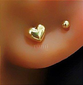 Brinco Mini Coração 0.4 cm Banhado em Ouro18k