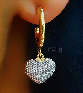 Brinco Argola com Pingente Coração Pontilhado com Detalhes em Ródio Branco banhado em Ouro18k