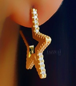 Brinco Estrela com Micro Zircônia Cristais M Banhado em Ouro18k