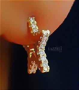 Brinco Estrela com Micro Zircônia Cristais P Banhado em Ouro18k