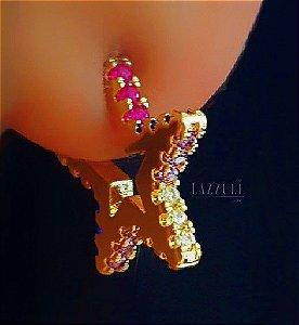 Brinco Estrela com Micro Zircônia Colorida P Banhado em Ouro18k