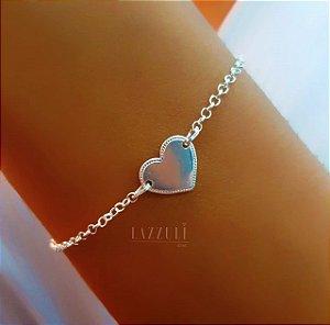 Pulseira Elo Português com Pingente Coração Liso na Prata925 (SKU:00132124)