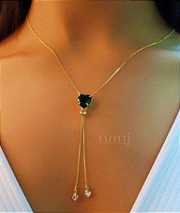Colar Gravatinha Coração Zircônia Esmeralda Banhado em Ouro18k