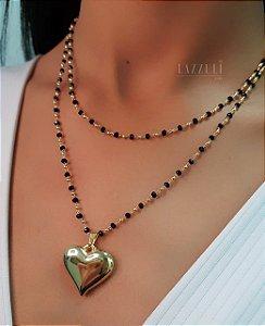 Colar 2 Fileiras com Coração Liso Banhado em Ouro18k