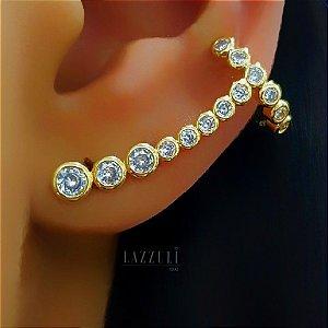 Brinco Ear Cuff Zircônia Cristal Banhado em Ouro18k (SKU: 00032062)