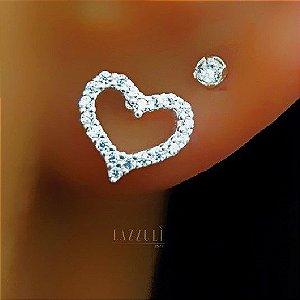 Brinco Mini Coração Micro Zircônia em Prata