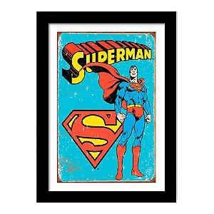 Quadro Decorativo Super Heróis Vintage Liga da Justiça - Super Homem - DC Comics