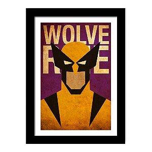 Quadro Decorativo Super Heróis Gravura X-Men - Wolverine - Marvel