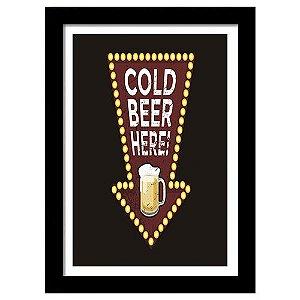 Quadro Decorativo Vintage para Cozinha e Churrasqueira em MDF Cold Beer Here Seta