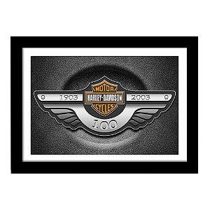 Quadro Decorativo para Sala de Estar em MDF Harley Davidson 100 Anos - Super Máquinas