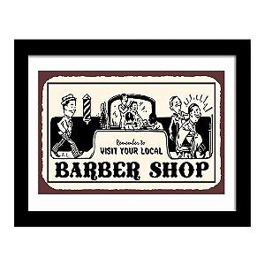 Quadro Decorativo Vintage para Barbearia em MDF Barber Shop Visit