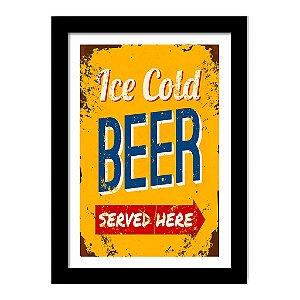Quadro Decorativo Vintage para Cozinha em MDF Ice Cold Beer Served Here