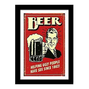 Quadro Decorativo Vintage para Cozinha e Churrasqueira em MDF Beer Helping Ugly People