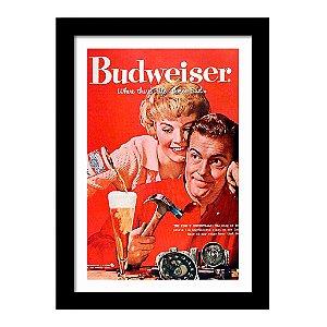 Quadro Decorativo Vintage para Cozinha em MDF Budweiser Casal Retrô