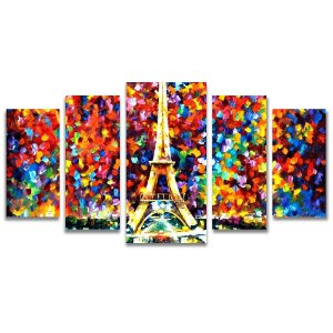 Tela Canvas para Sala de Estar 5 Peças Torre Eiffel Arte - Leonid Afremov