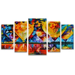 Tela Canvas para Sala de Estar 5 Peças Balões Arte - Leonid Afremov