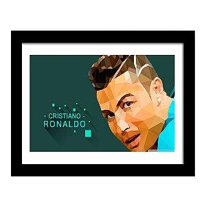 Quadro Decorativo para Quarto e Sala em MDF Cristiano Ronaldo Geométrico - Real Madri