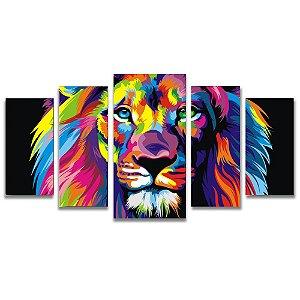 Tela Canvas Decorativa para Sala de Estar 5 Peças Leão