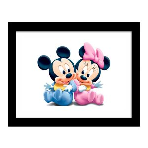 Quadro Decorativo para Quarto Infantil Mickey e Minnie Baby - Disney Kids