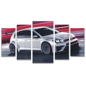 Tela Canvas para Sala de Estar 5 Peças Carros e Motos - Golf GTI